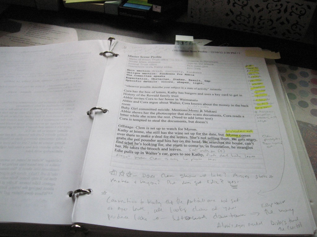This is an early version of the worksheet that I used for my own novel. Note all the ideas and changes ;-)