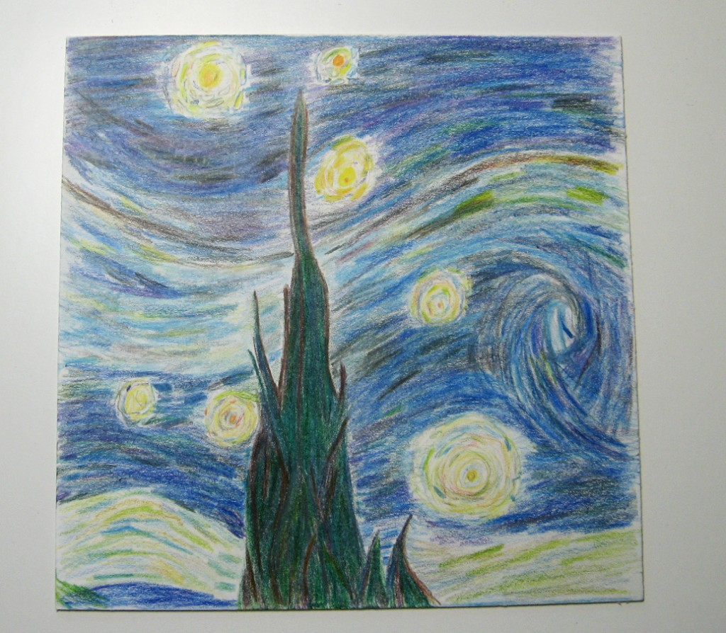 "we moved to colored pencil and did a close up of one of the masters. In this case my favorite, Vincent Van Gogh's ""The Starry Night."""