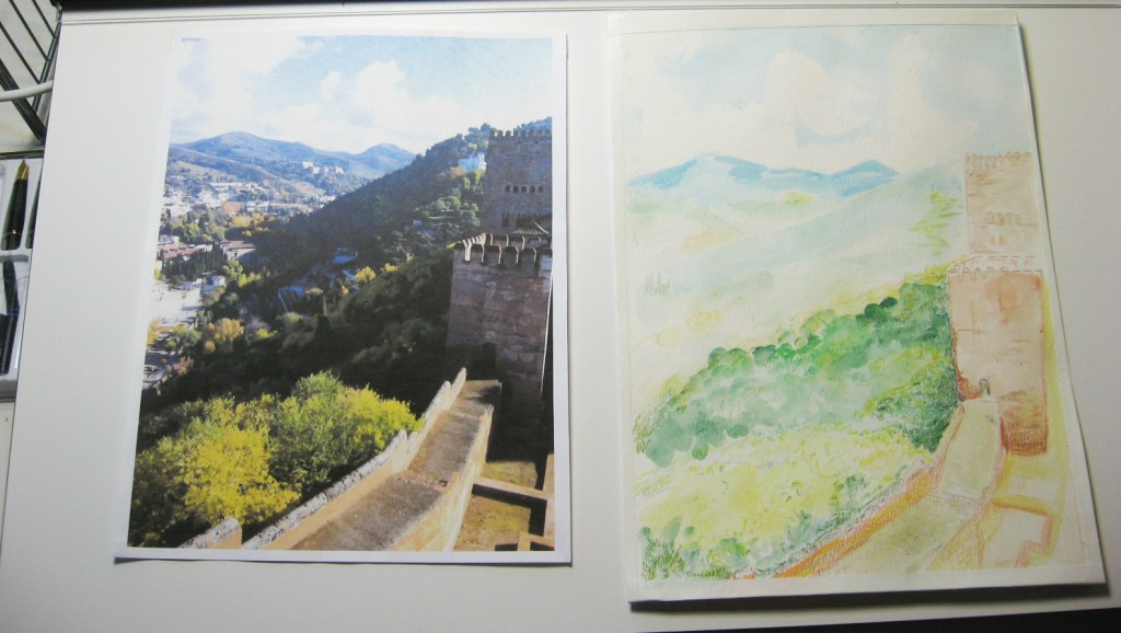 On the right, the inspiration for the painting, on the left the first try.